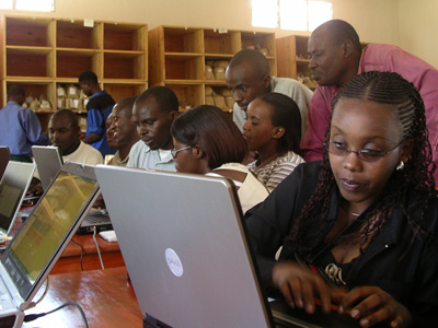 Accountants at a cooperative in Rwanda during a two-day computer workshop